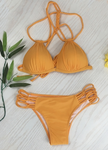 Women Bikini Set Solid Triangle Lace Up Bandage Strappy Braided Padded Backless Cut Out Sexy Two Piece SwimsuitApparel &amp; Jewelry<br>Women Bikini Set Solid Triangle Lace Up Bandage Strappy Braided Padded Backless Cut Out Sexy Two Piece Swimsuit<br>