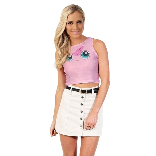 New Fashion Women Crop Top Cartoon Pattern Print Color Block Sleeveless Style Casual Tops PinkApparel &amp; Jewelry<br>New Fashion Women Crop Top Cartoon Pattern Print Color Block Sleeveless Style Casual Tops Pink<br>