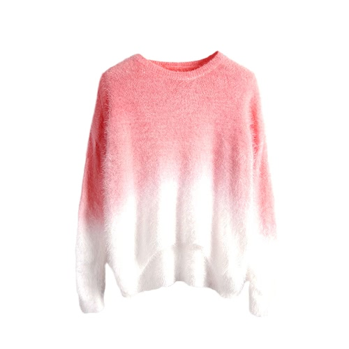 New Fashion Women Gradient Sweater Knitted Fluffy Mohair Batwing Sleeve O Neck Loose Sweater PulloverApparel &amp; Jewelry<br>New Fashion Women Gradient Sweater Knitted Fluffy Mohair Batwing Sleeve O Neck Loose Sweater Pullover<br>