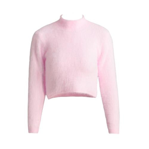 Nouveau Mode Femmes en tricot Fluffy Sweater Jumper Crop Top col roulé à manches longues Mohair Slim Pull Tricots
