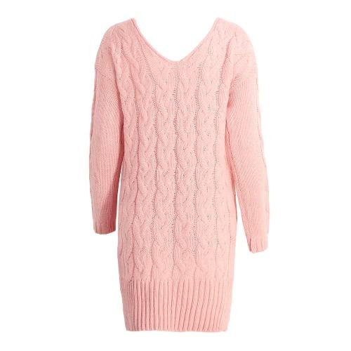 New Women Midi Twist Knitted Sweater Solid V Neck Long Sleeve Split High-Low Hem Loose Warm Jumper Pullover Knitwear Pink/GreyApparel &amp; Jewelry<br>New Women Midi Twist Knitted Sweater Solid V Neck Long Sleeve Split High-Low Hem Loose Warm Jumper Pullover Knitwear Pink/Grey<br>