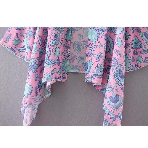 Fashion Women Long Kimono Cardigan Chiffon Blouse Bohemian Floral Printed Loose Bikini Cover PinkApparel &amp; Jewelry<br>Fashion Women Long Kimono Cardigan Chiffon Blouse Bohemian Floral Printed Loose Bikini Cover Pink<br>