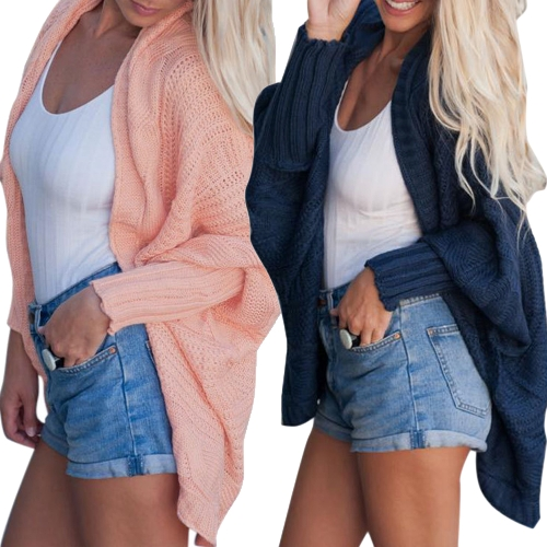 Women Cardigan Autumn Winter Open Front Knitting Sweater Loose Jacket Coat Outerwear Pink/BlueApparel &amp; Jewelry<br>Women Cardigan Autumn Winter Open Front Knitting Sweater Loose Jacket Coat Outerwear Pink/Blue<br>
