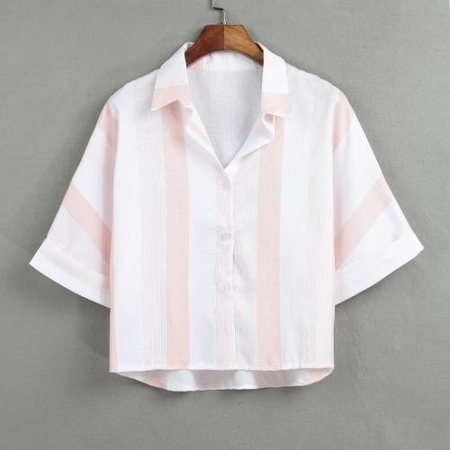 Women Stripe Blouse Shirt Turn-down Collar Half Sleeve Loose Casual Short Top Blue/PinkApparel &amp; Jewelry<br>Women Stripe Blouse Shirt Turn-down Collar Half Sleeve Loose Casual Short Top Blue/Pink<br>
