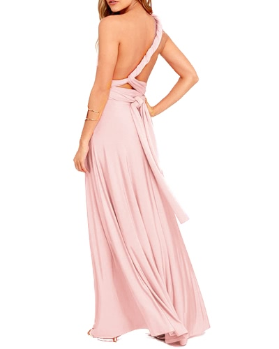 Women Dress Solid Stretchy Convertible Multi Way Cross Strap Bridesmaid Long Gown Maxi Party One-Piece PinkApparel &amp; Jewelry<br>Women Dress Solid Stretchy Convertible Multi Way Cross Strap Bridesmaid Long Gown Maxi Party One-Piece Pink<br>