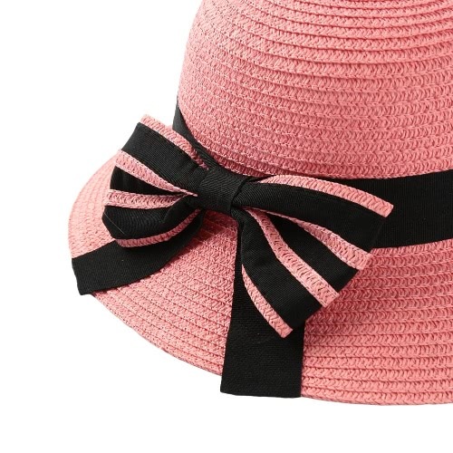 New Fashion Women Bow Straw Hat Wide Brim Solid Summer Beach Sun Cap Floppy Trilby Hat Black/Beige/PinkApparel &amp; Jewelry<br>New Fashion Women Bow Straw Hat Wide Brim Solid Summer Beach Sun Cap Floppy Trilby Hat Black/Beige/Pink<br>