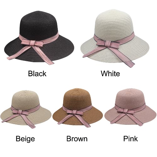 Women Sun Hat Straw Hat Solid Wide Brim Contrast Bow Ribbon Summer Sunbonnet Fedora Beach Panama HatApparel &amp; Jewelry<br>Women Sun Hat Straw Hat Solid Wide Brim Contrast Bow Ribbon Summer Sunbonnet Fedora Beach Panama Hat<br>