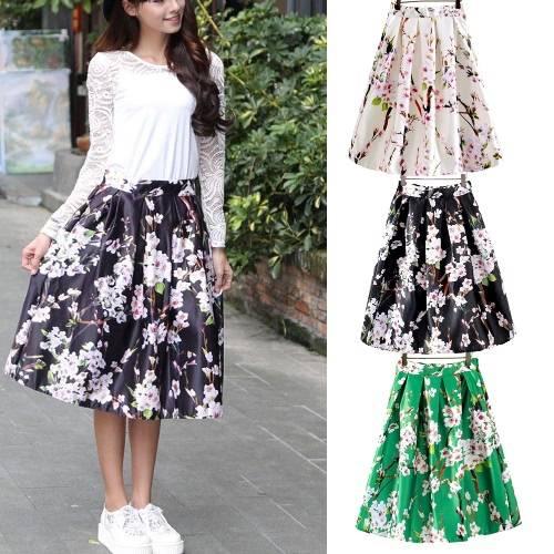New Fashion Women Skirt Butterfly Floral Print A Line Zipper Elegant Skirt Green/Black/WhiteApparel &amp; Jewelry<br>New Fashion Women Skirt Butterfly Floral Print A Line Zipper Elegant Skirt Green/Black/White<br>