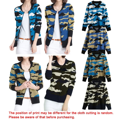 New Winter Women Knitted Cardigan Camouflage Pattern Button O-Neck Long Sleeves Casual Loose Outerwear CoatApparel &amp; Jewelry<br>New Winter Women Knitted Cardigan Camouflage Pattern Button O-Neck Long Sleeves Casual Loose Outerwear Coat<br>