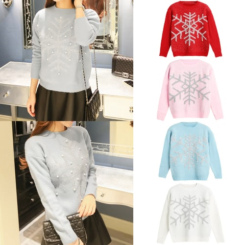 New Autumn Winter Women Knit Sweater Shiny Snowflake Jacquard Bead Jumper Long Sleeve Casual Knitwear Tops White/PinkApparel &amp; Jewelry<br>New Autumn Winter Women Knit Sweater Shiny Snowflake Jacquard Bead Jumper Long Sleeve Casual Knitwear Tops White/Pink<br>