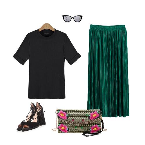 New Brief Europe Pleated Skirt Solid Color High Waist Elasticated Waistband Lined Midi SkirtApparel &amp; Jewelry<br>New Brief Europe Pleated Skirt Solid Color High Waist Elasticated Waistband Lined Midi Skirt<br>