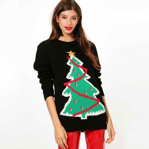 Women Knitted Sweater Crochet Christmas Xmas Santa Tree Elf Pattern Long Sleeve Loose Casual PulloverApparel &amp; Jewelry<br>Women Knitted Sweater Crochet Christmas Xmas Santa Tree Elf Pattern Long Sleeve Loose Casual Pullover<br>