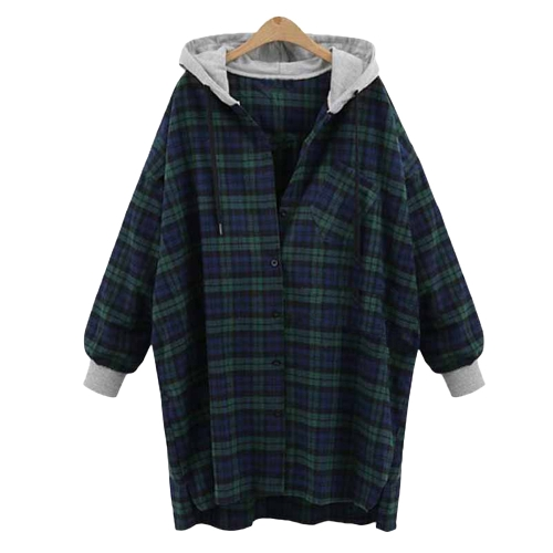 New Fashion Women Plaid Hooded Shirt Button Closure Long Sleeve Irregular Hem Oversized Shirt Hoodie Red/GreenApparel &amp; Jewelry<br>New Fashion Women Plaid Hooded Shirt Button Closure Long Sleeve Irregular Hem Oversized Shirt Hoodie Red/Green<br>