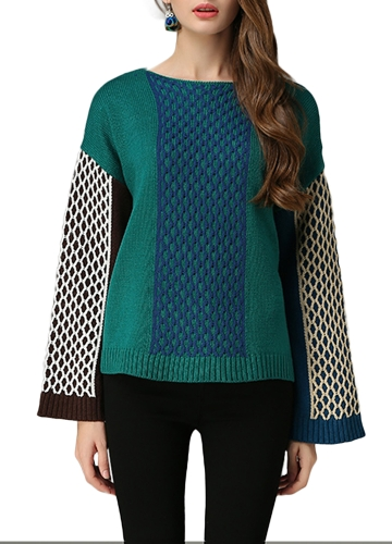 Chic Women Sweater Color Block Twisted Stripe Splits Dropped Shoulder Long Sleeve Loose Knit Pullover Plus Size KnitwearApparel &amp; Jewelry<br>Chic Women Sweater Color Block Twisted Stripe Splits Dropped Shoulder Long Sleeve Loose Knit Pullover Plus Size Knitwear<br>
