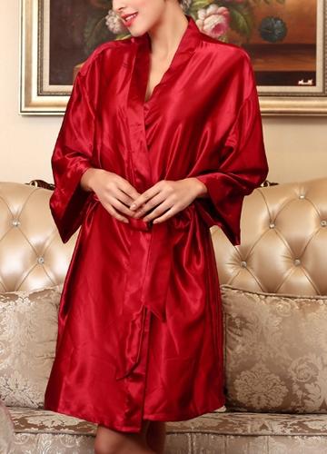 Camicia da notte in raso di seta Accappatoio Accappatoio corto Kimono Abito da notte Camicia da notte