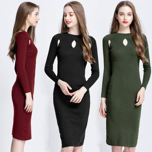 Women Autumn Elegant Sexy Cutout Slim Sweater Dress Bodycon Solid Color Casual Knitted Dress Green/Black/BurgundyApparel &amp; Jewelry<br>Women Autumn Elegant Sexy Cutout Slim Sweater Dress Bodycon Solid Color Casual Knitted Dress Green/Black/Burgundy<br>