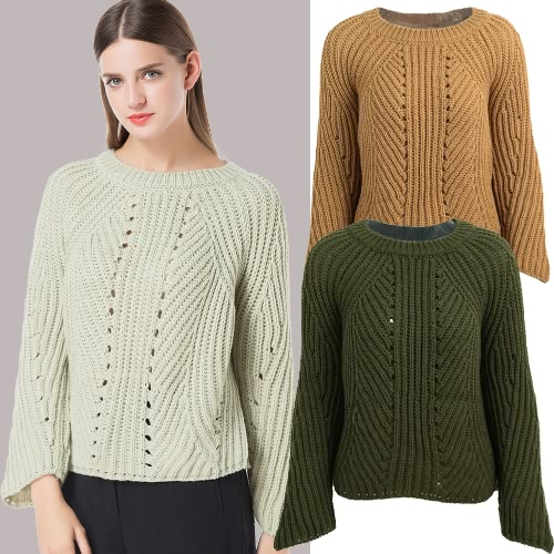 Women Loose Knitted Sweater Solid Color Hollow Out Side Splits Round Neck Long Raglan Sleeve Casual JumperApparel &amp; Jewelry<br>Women Loose Knitted Sweater Solid Color Hollow Out Side Splits Round Neck Long Raglan Sleeve Casual Jumper<br>