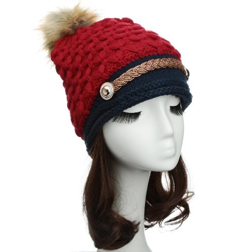 Women Winter Knitted Hat Knit Crochet Faux Fur Pom-Pom Beret Hat Braided Ski CapApparel &amp; Jewelry<br>Women Winter Knitted Hat Knit Crochet Faux Fur Pom-Pom Beret Hat Braided Ski Cap<br>