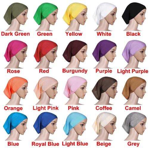 New Fashion Muslim Hijab Turban Islamic Bonnet Underscarf Inner Cap Solid Color Tube Hat Elastic Headwear