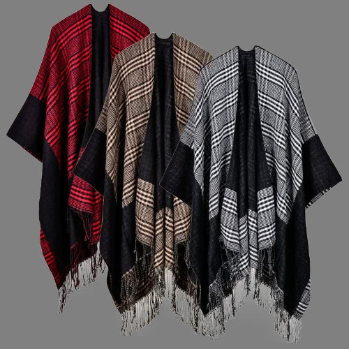Vintage Women Knitted Shawl Poncho Faux Cashmere Plaid Check Tassel Oversized Warm Long Winter CapeApparel &amp; Jewelry<br>Vintage Women Knitted Shawl Poncho Faux Cashmere Plaid Check Tassel Oversized Warm Long Winter Cape<br>