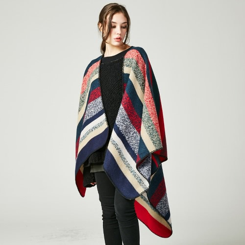 Women Poncho Scarf Cardigan Sweater Striped Warm Cape Shawl Long Scarves Pashmina OutwearApparel &amp; Jewelry<br>Women Poncho Scarf Cardigan Sweater Striped Warm Cape Shawl Long Scarves Pashmina Outwear<br>