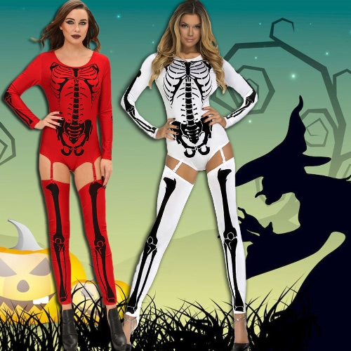 Women Halloween Costume Bodycon Jumpsuit Skull Print Role Play Sexy Adult Playsuit Rompers Red/WhiteApparel &amp; Jewelry<br>Women Halloween Costume Bodycon Jumpsuit Skull Print Role Play Sexy Adult Playsuit Rompers Red/White<br>