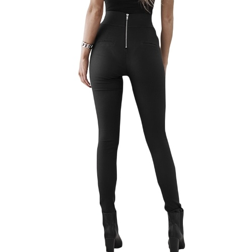 Pantalones pitillo de cintura alta para mujer con cremallera trasera