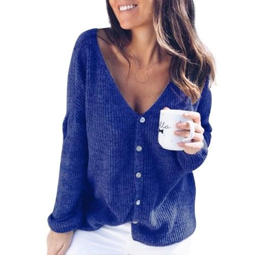 Nuevo sólido sexy cuello en V botón manga larga suéter flojo
