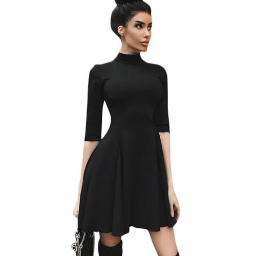 Las mujeres atractivas del otoño vestido delgado cintura alta espalda cremallera