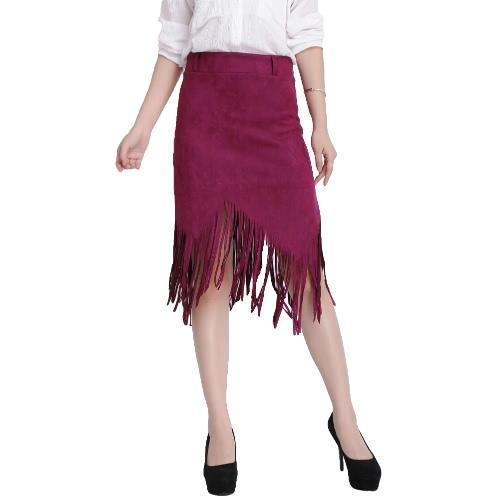 Flapper Fashion Women Faux Suede Tassel Fringe High Waist Asymmetric Slim SkirtApparel &amp; Jewelry<br>Flapper Fashion Women Faux Suede Tassel Fringe High Waist Asymmetric Slim Skirt<br>