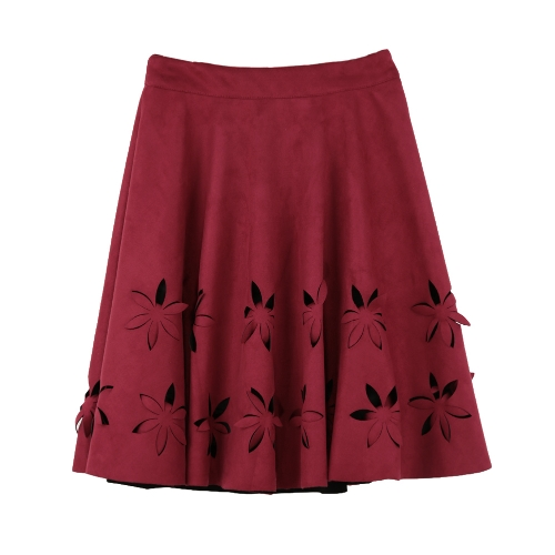 Chic Faux Suede Hollow Flower High Waist Pleated A-Line Womens SkirtApparel &amp; Jewelry<br>Chic Faux Suede Hollow Flower High Waist Pleated A-Line Womens Skirt<br>