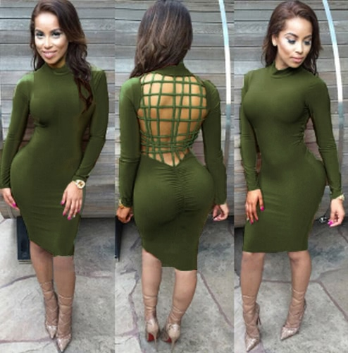 Sexy Women Midi Dress Backless Ruched Stand Collar Long Sleeve Bodycon Party Club Bandage DressApparel &amp; Jewelry<br>Sexy Women Midi Dress Backless Ruched Stand Collar Long Sleeve Bodycon Party Club Bandage Dress<br>