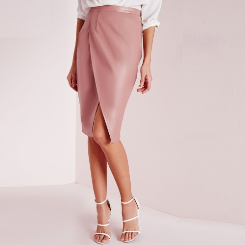 New Sexy Women PU Skirt Cross Front High Waist Solid Color Fleece Lining Midi Skirt Pink/Burgundy/Dark GreenApparel &amp; Jewelry<br>New Sexy Women PU Skirt Cross Front High Waist Solid Color Fleece Lining Midi Skirt Pink/Burgundy/Dark Green<br>