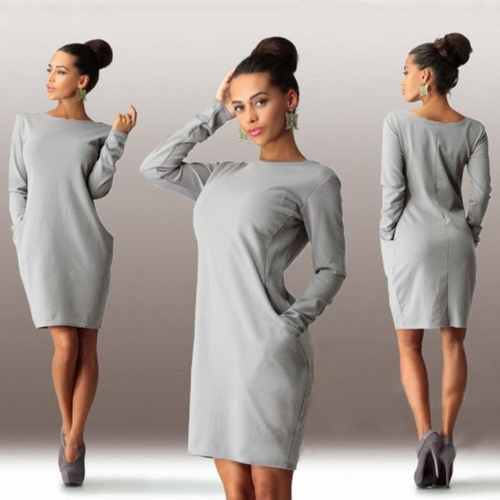 Fashion Pockets Round Neck Long Sleeve Solid Color Casual Plus Size DressApparel &amp; Jewelry<br>Fashion Pockets Round Neck Long Sleeve Solid Color Casual Plus Size Dress<br>