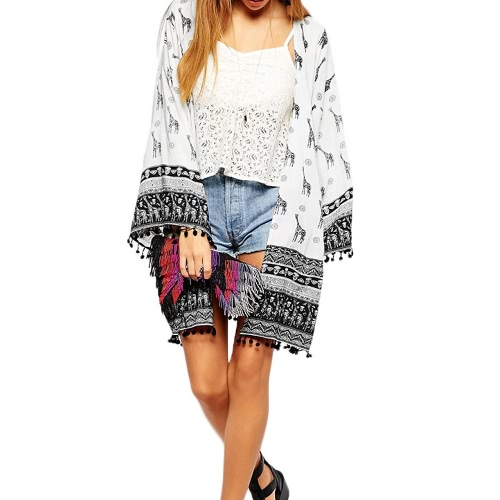 New Fashion Women Cardigan Open Front Giraffe Print Tassel Decoration Long Sleeve Kimono BeigeApparel &amp; Jewelry<br>New Fashion Women Cardigan Open Front Giraffe Print Tassel Decoration Long Sleeve Kimono Beige<br>