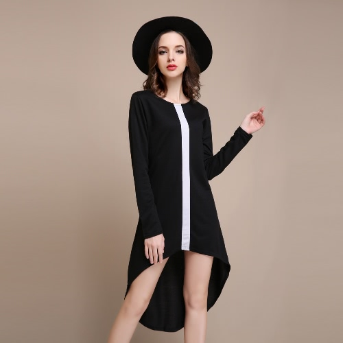 Fashion Contrast Vertical Irregular Asymmetrical Womens Long Sleeve DressApparel &amp; Jewelry<br>Fashion Contrast Vertical Irregular Asymmetrical Womens Long Sleeve Dress<br>