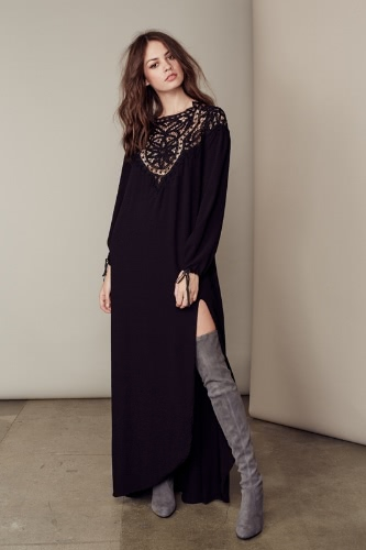 New Sexy Women Maxi Dress Lace Open Back Thigh Split Round Neck Long Sleeve Long Dress Black/BurgundyApparel &amp; Jewelry<br>New Sexy Women Maxi Dress Lace Open Back Thigh Split Round Neck Long Sleeve Long Dress Black/Burgundy<br>