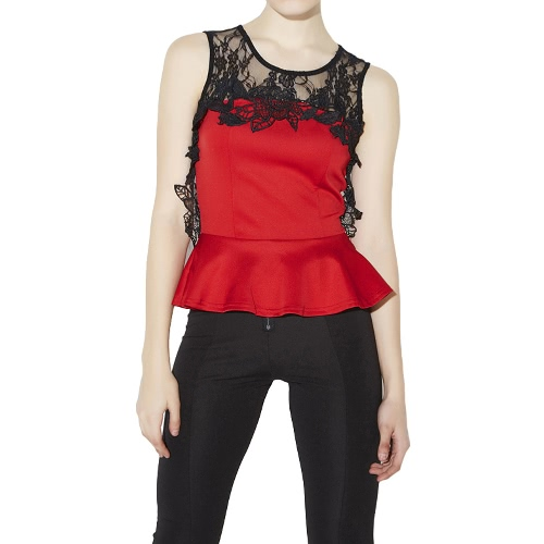 New Sexy Women Vest Blouse Hollow Out Lace Zipper O-Neck Sleeveless Elegant Bodycon Tee Top Black/RedApparel &amp; Jewelry<br>New Sexy Women Vest Blouse Hollow Out Lace Zipper O-Neck Sleeveless Elegant Bodycon Tee Top Black/Red<br>