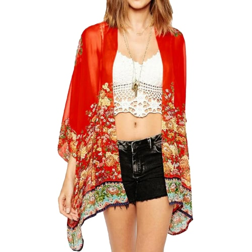 New Women Chiffon Outerwear Open Front Floral Print Batwing 3/4 Sleeves Irregular Hem Thin Vintage Loose Cardigan RedApparel &amp; Jewelry<br>New Women Chiffon Outerwear Open Front Floral Print Batwing 3/4 Sleeves Irregular Hem Thin Vintage Loose Cardigan Red<br>