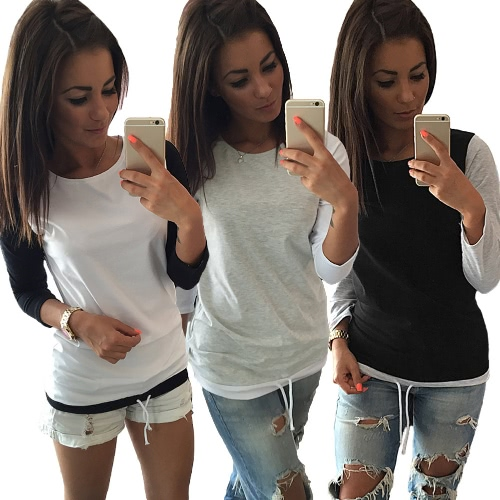 New Fashion Women T-shirt Color Block Drawstring Design Round Neck Long Sleeve Casual Tops Grey/Black/WhiteApparel &amp; Jewelry<br>New Fashion Women T-shirt Color Block Drawstring Design Round Neck Long Sleeve Casual Tops Grey/Black/White<br>
