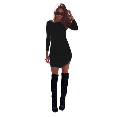 New Fashion Women Dress Solid Ruched Design Curved Hem Round Neck Long Sleeve Slim Fit Casual One-Piece Black/Grey/BurgundyApparel &amp; Jewelry<br>New Fashion Women Dress Solid Ruched Design Curved Hem Round Neck Long Sleeve Slim Fit Casual One-Piece Black/Grey/Burgundy<br>