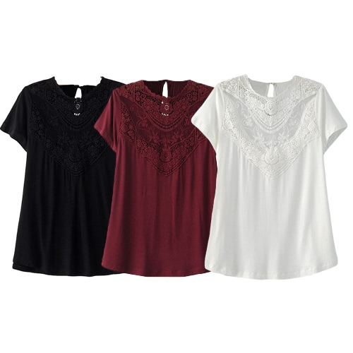 New Women Blouse Solid Color Lace Crochet Hollow Out Round Neck Short Sleeve Casual Shirt Tops Black/Red/WhiteApparel &amp; Jewelry<br>New Women Blouse Solid Color Lace Crochet Hollow Out Round Neck Short Sleeve Casual Shirt Tops Black/Red/White<br>