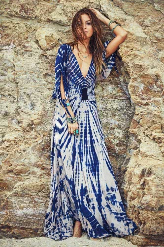 New Boho Maxi Dress Contrast Print Deep V-Neck Side Zipper 3/4 Sleeve Beach Evening Party Long Dress BlueApparel &amp; Jewelry<br>New Boho Maxi Dress Contrast Print Deep V-Neck Side Zipper 3/4 Sleeve Beach Evening Party Long Dress Blue<br>
