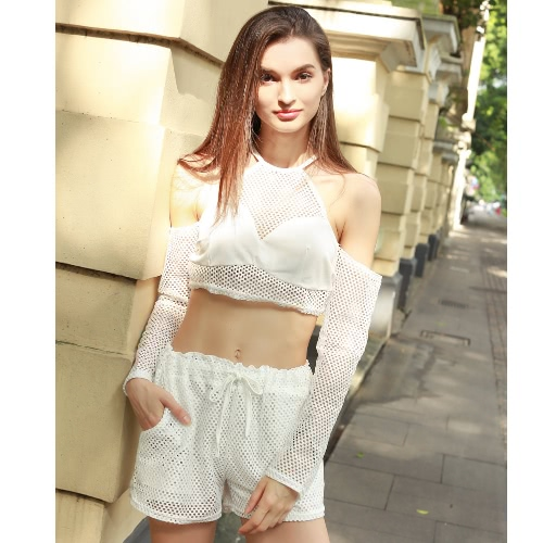 New Fashion Women Two-piece Set Suit Solid Color Hollow Out Long Sleeve Elastic Waist Self-Tie Beach Twinset WhiteApparel &amp; Jewelry<br>New Fashion Women Two-piece Set Suit Solid Color Hollow Out Long Sleeve Elastic Waist Self-Tie Beach Twinset White<br>