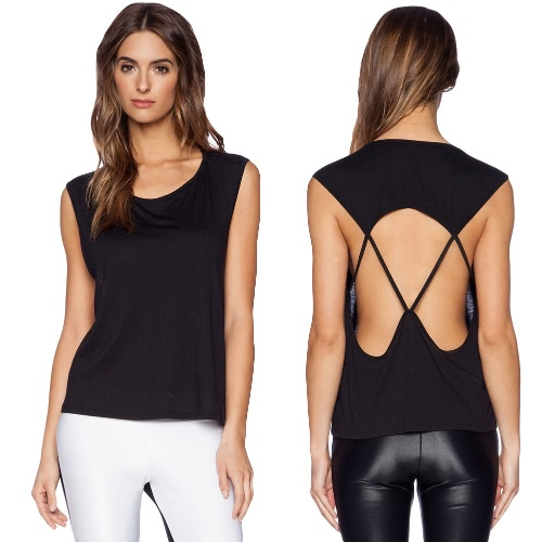 Sexy Women Top Round Neck Sleeveless Hollow Out Spaghetti Strap Backless Tank Top T-Shirt BlackApparel &amp; Jewelry<br>Sexy Women Top Round Neck Sleeveless Hollow Out Spaghetti Strap Backless Tank Top T-Shirt Black<br>