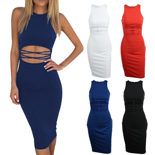 Sexy Cut Out Waist Strap Sleeveless O Neck Stretchy Club Womens Bodycon DressApparel &amp; Jewelry<br>Sexy Cut Out Waist Strap Sleeveless O Neck Stretchy Club Womens Bodycon Dress<br>