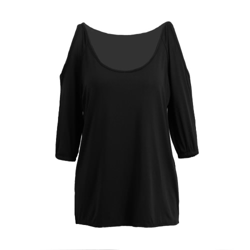 New Fashion Women Cold Shoulder Blouse Sexy Scoop Neck 3/4 Sleeve Elastic Cuff Casual Loose Top Black/Dark Blue/RoseApparel &amp; Jewelry<br>New Fashion Women Cold Shoulder Blouse Sexy Scoop Neck 3/4 Sleeve Elastic Cuff Casual Loose Top Black/Dark Blue/Rose<br>