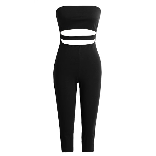 Sexy Strapless Backless Cut Out Cropped Leg Skinny Fit  Womens JumpsuitApparel &amp; Jewelry<br>Sexy Strapless Backless Cut Out Cropped Leg Skinny Fit  Womens Jumpsuit<br>