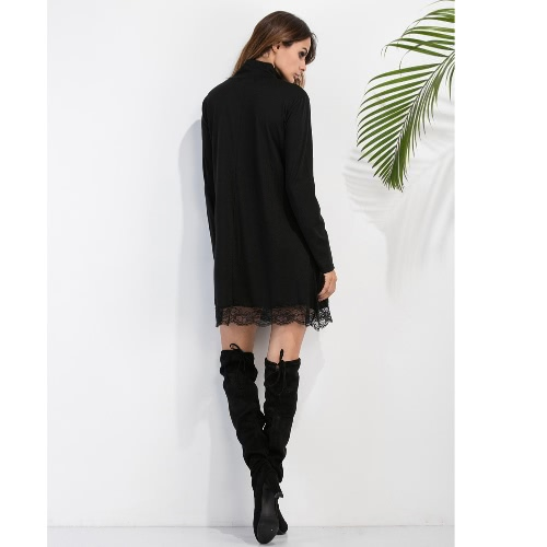 Fashion Women High Neck Dress Lace Trim Long Sleeves Casual Party Clubwear Mini Dress BlackApparel &amp; Jewelry<br>Fashion Women High Neck Dress Lace Trim Long Sleeves Casual Party Clubwear Mini Dress Black<br>