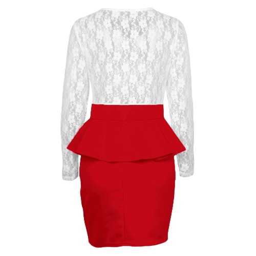Sexy Women Bandage Bodycon Dress Lace Splice Peplum Waist Round Neck Long Sleeve Evening Party Mini Dress ClubwearApparel &amp; Jewelry<br>Sexy Women Bandage Bodycon Dress Lace Splice Peplum Waist Round Neck Long Sleeve Evening Party Mini Dress Clubwear<br>